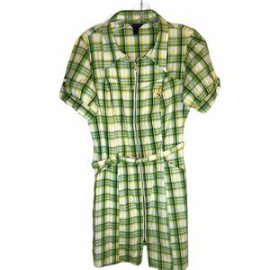 House of Dereon Green Plaid Dress